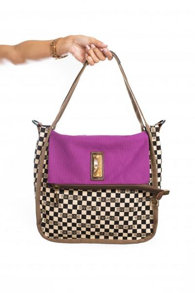 Cuadrado B/N Algodón Púrpura 1684S